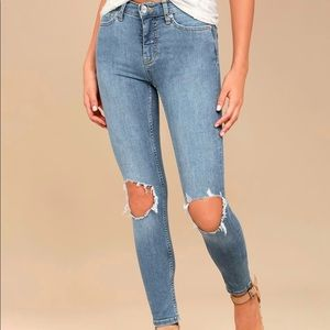 Free People High Rise Distressed Light Wash Skinny Jeans size 26